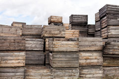 Apple harvesting crates Royalty Free Stock Images