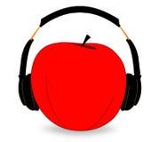 Apple Wearing Headphones. Illustration of an apple wearing headphones isolated on white royalty free illustration