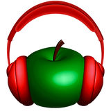 Apple and headphones Stock Image