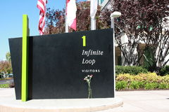 Apple Headquarter. Visitor put a flower at 1 Infinite Loop for Steve Jobs Royalty Free Stock Photos