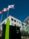 Apple headquarters in Cupertino California. At Infinite Loop 1. US, California and Apple's flag blow in the wind Stock Images