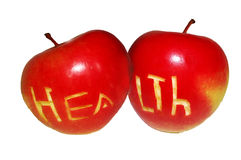 Apple for health. A photo of a red apple with the word health Stock Photos