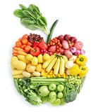 Apple: healthy food. Various vegetables and fruits in apple shape Stock Images