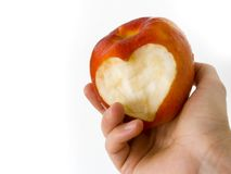 Apple with heart 02. Another heart in an apple Stock Photo