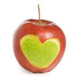 Apple with heart. Red apple with heart silhouette Stock Images