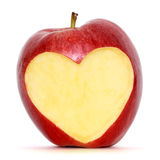 Apple with heart. Red apple with heart shape stock photography