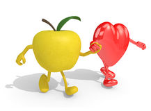Apple and heart with arms and legs that walking. Yellow apple and heart with arms and legs that walking hand in hand, 3d illustration Royalty Free Stock Photography