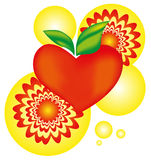 Apple heart with flash arnament symbol - vector illustration Stock Images