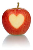 Apple with heart love topic isolated Royalty Free Stock Images