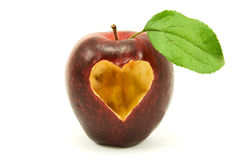Apple with a heart shape on it Royalty Free Stock Photo