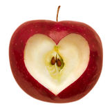Apple with heart shape Stock Photos