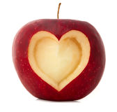 Apple with heart shape Stock Images