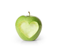 Apple with heart shape Royalty Free Stock Photo