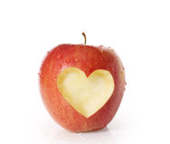 Apple with heart shape Stock Image