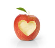 Apple with heart shape Royalty Free Stock Image