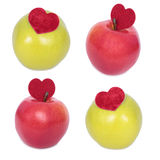 Apple with a heart symbol Stock Photography