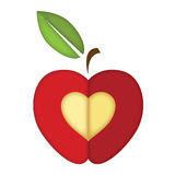 Apple with heart vector. For valentine card Royalty Free Stock Photos