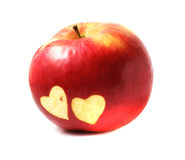 Apple with hearts Stock Image