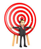 Apple on his head. Businessman stands in the center of the target with an apple on his head Stock Image