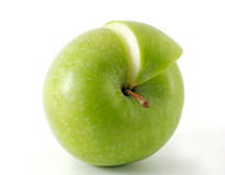 Apple and his slice. Isolated Royalty Free Stock Photos