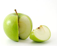 Apple and his slice. Isolated Stock Image