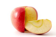 Apple and his slice. Isolated Royalty Free Stock Photo