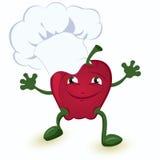 Apple-historieta-carácter-en-cocinero-sombrero Imagen de archivo libre de regalías