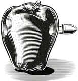 Apple hit by a bullet that pierces. Apple hit by a bullet that pierces on a white Royalty Free Stock Photos