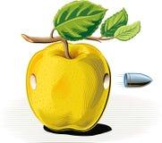 Apple hit by a bullet that pierces. Apple hit by a bullet that pierces on white Royalty Free Stock Image