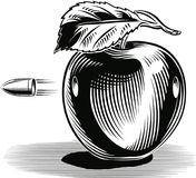 Apple hit by a bullet that pierces. Green apple hit by a bullet that pierces Stock Image