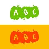 Apple hizo de letras del alfabeto ABC enseña manzanas Desarrollo o Fotos de archivo libres de regalías