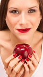 Beautiful WOman Close up Holding Apple  Royalty Free Stock Images