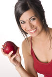 Healthy Attractive Woman Holding Delicious Apple Stock Images