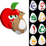 Apple holding a big sack with variable signs Royalty Free Stock Photo