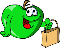 Apple holding an empty bag Royalty Free Stock Image
