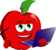 Apple holding laptop Royalty Free Stock Photography