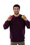 apple holding man portrait smiling Στοκ εικόνες με δικαίωμα ελεύθερης χρήσης