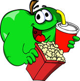 Apple holding popcorn and soft drink Stock Photos