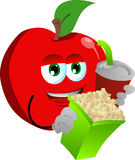 Apple holding popcorn and soft drink Stock Images
