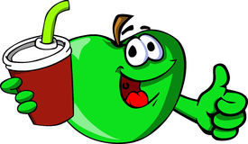 Apple holding soda and showing thumb up sign Stock Images