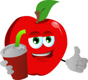 Apple holding soda and showing thumb up sign Royalty Free Stock Image