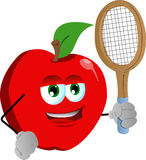 Apple holding a tennis rocket Royalty Free Stock Photos