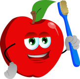 Apple holding tooth brush Stock Images
