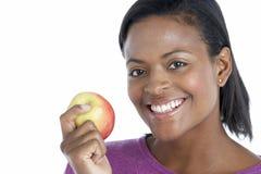 apple holding woman Στοκ Φωτογραφία