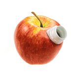 Apple with a hole for drinking juice Stock Image