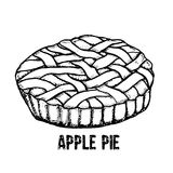 apple home made pie Διανυσματική συρμένη χέρι απεικόνιση απεικόνιση αποθεμάτων