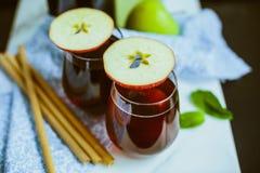 Apple homemade Kombucha in glass beakers.  Stock Photos