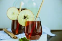 Apple homemade Kombucha in glass beakers.  Royalty Free Stock Photo