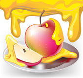 Apple with honey vector illustration