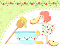 Apple and honey. Girl with apple and honey on pomegranate patterned background Stock Photo